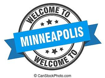 minneapolis, segno, benvenuto, stamp., blu
