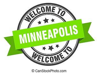 minneapolis, segno, verde, benvenuto, stamp.