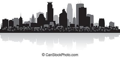 minneapolis, skyline città, silhouette