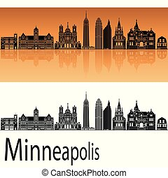 Minneapolis skyline in orange background in editable vector...