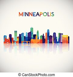 Minneapolis skyline silhouette in colorful geometric style.
