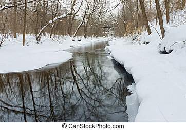 Minnehaha Parkway and Creek in Winter