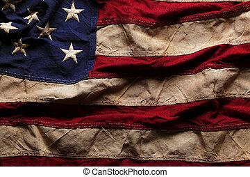 minnesmärke, gammal, flagga, dag, amerikan, 4, bakgrund, juli, eller
