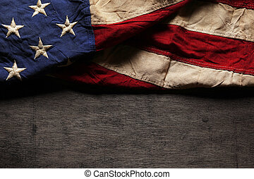 minnesmärke, gammal, flagga, slitet, dag, amerikan, 4th juli...