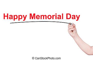 minnesmärke, ord, skriva, bakgrund, vit, dag, lycklig