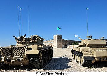 minnesmärke, pansrad, kår, israelisk, plats, latrun