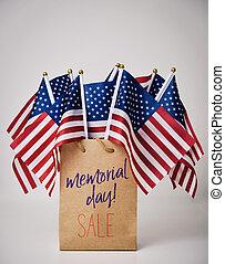 minnesmärke, text, försäljning, amerikan flaggar, dag