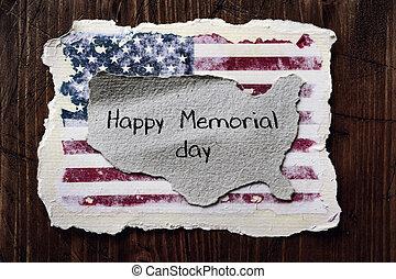 minnesmärke, text, flagga, amerikan, dag, lycklig