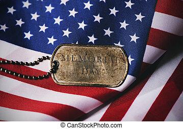 minnesmärke, text, flagga, hund, amerikan, etikett, dag