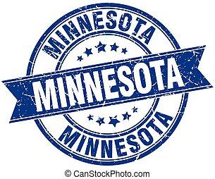 Minnesota blue round grunge vintage ribbon stamp
