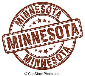 Minnesota brown grunge round vintage rubber stamp