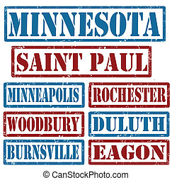 Set of Minnesota cities stamps on white background, vector illustration