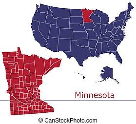 Minnesota counties vector map