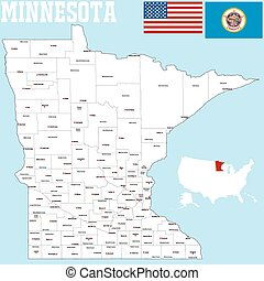 A large and detailed map of the State of Minnesota