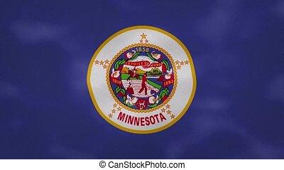 Minnesota dense flag fabric wavers, background loop - ...