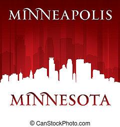 minnesota, fondo, orizzonte, minneapolis, città, rosso, silhouette