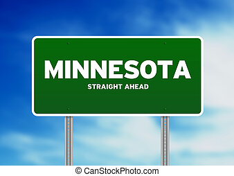 Minnesota Highway Sign - Green Minnesota, USA highway sign...