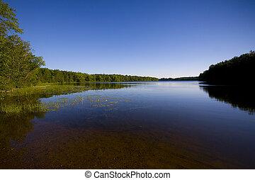 minnesota, lago, en, azul