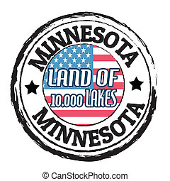 Grunge rubber stamp with flag and the text Minnesota, Land of 10.000 Lakes, vector illustration