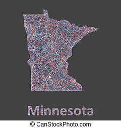 Minnesota line art map - red, blue and white on black background