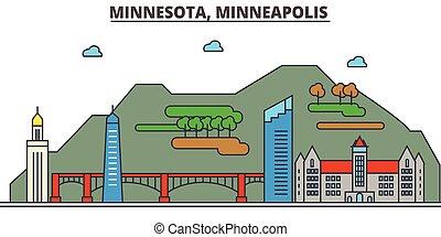 Minnesota, Minneapolis.City skyline: architecture, buildings, streets, silhouette, landscape, panorama, landmarks, icons. Editable strokes. Flat design line vector illustration concept.