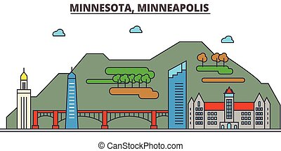 Minnesota, Minneapolis.City skyline: architecture,...