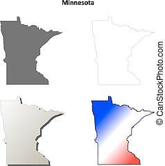 Minnesota outline map set - Minnesota state blank vector...