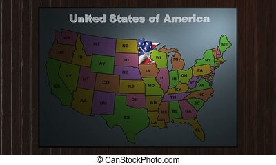 Minnesota pull out from USA states abbreviations map