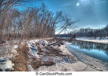 minnesota, río, en, el, invierno