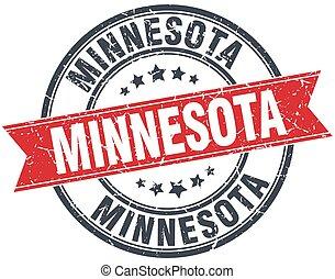 Minnesota red round grunge vintage ribbon stamp