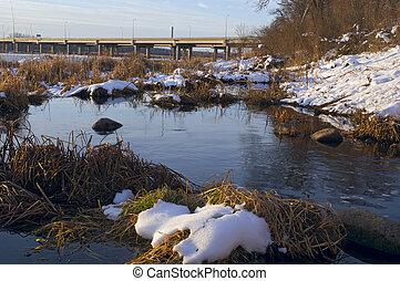 Minnesota River Banks and Bridge