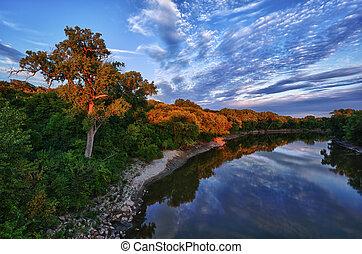 Beautiful Minnesota River in the Evening Near Sunset