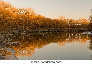 Minnesota River Winter Sunset in Savage Minnesota