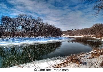Minnesota River in the Wintertime near savage MN