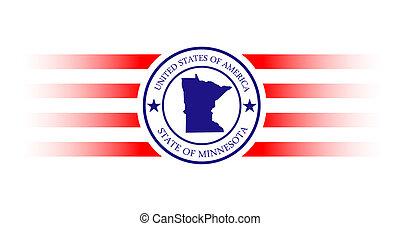 Minnesota stamp - Minnesota state map stamp with name.