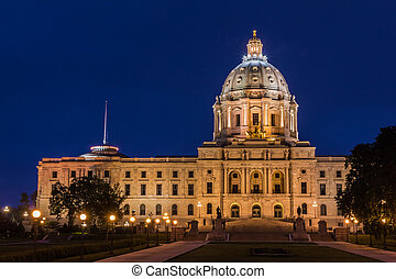Minnesota State Capitol Building at Night in Saint Paul, MN