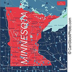 Minnesota state detailed editable map