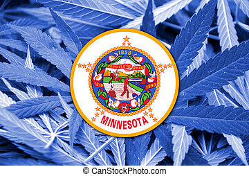 Minnesota State Flag on cannabis background. Drug policy. ...