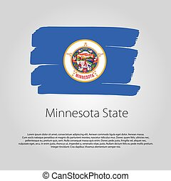 Minnesota State Flag with colored hand drawn lines in Vector Format