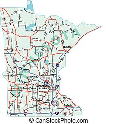 Minnesota state road map with Interstates, U.S. Highways and state roads. All elements on separate layers for easy editing.