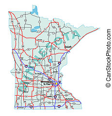 Minnesota state road map with Interstates, U.S. Highways and state roads.