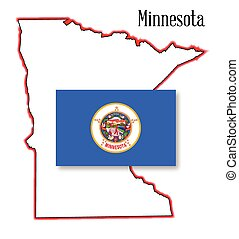 Minnesota State Map and Flag
