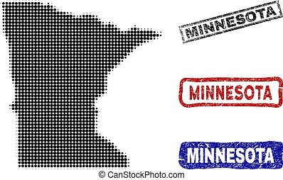 Minnesota State Map in Halftone Dot Style with Grunge Caption Stamps