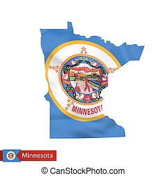 Minnesota state map with waving flag of US State.