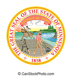 Seal of American state of Minnesota; isolated on whiite background.