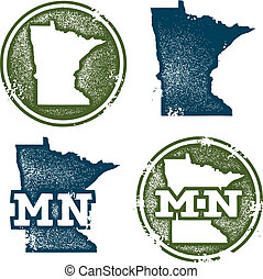Collection of grunge stamps in vector format featuring the US State of Minnesota.