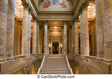 Interior of Minnesota State Capitol at East Wing showing State Supreme Court entrance **note to editor: this image has no property release because it is a public building, NOT a private property. It is the state capitol owned by taxpayers. Thank you.