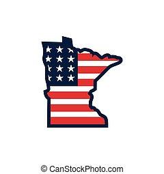 Minnesota usa map flag vector