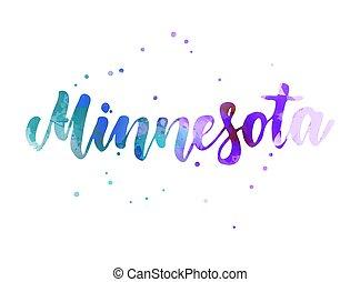 Minnesota watercolor handwritten lettering