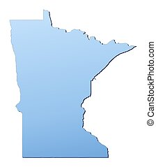 Minnesota(USA) map filled with light blue gradient. High...